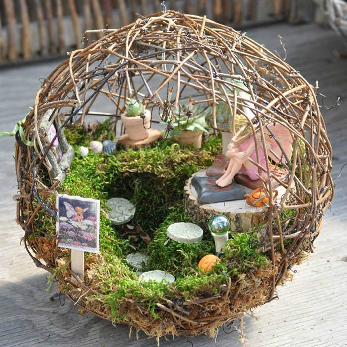 Fairy Garden Ideas: Around my twiggy orb fairy garden ideas