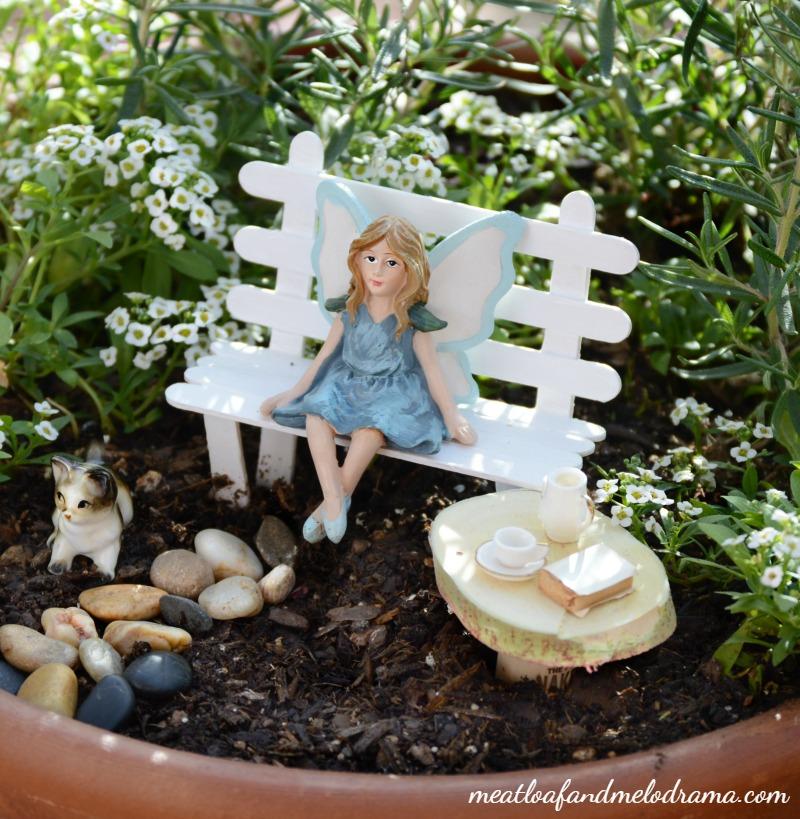 Fairy Garden Ideas: Pondering precious moments fairy garden