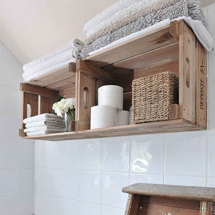 Use Wood Crates to Expand Your Bathroom Shelves