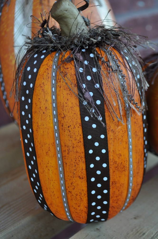 Painted Pumpkin Decorating Ideas Polka Dot Porch Display Wide Orange Ribbon Small And Large Hay Bale Two Pumpkins Acrylic Paint Stencils