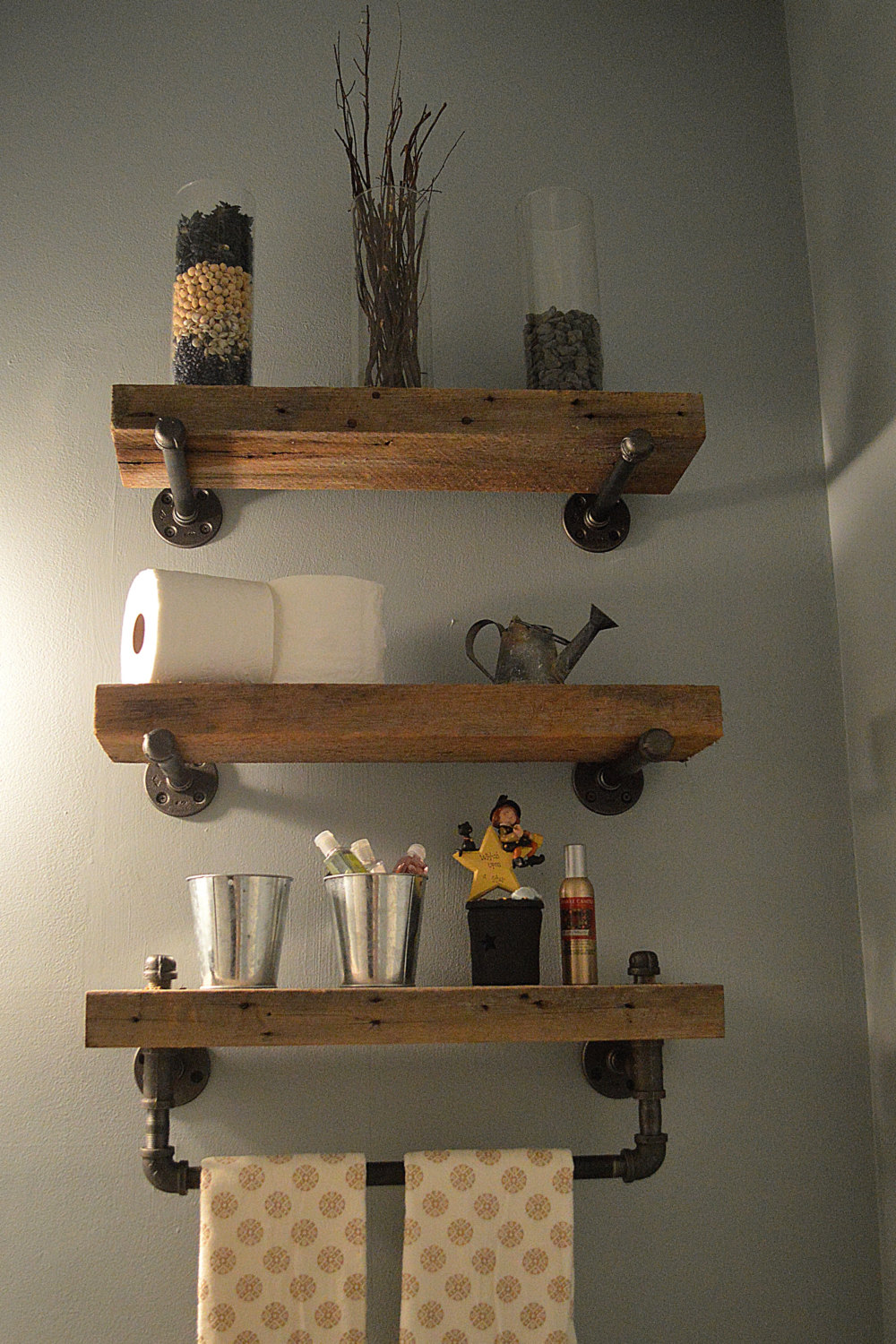 Rustic Bathroom Shelf Decor Ideas