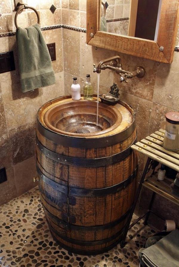 Barrel Sink Bathroom Old