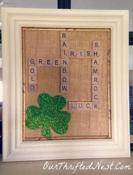 Upcycled Scrabble Tile St. Patrick's Day Art