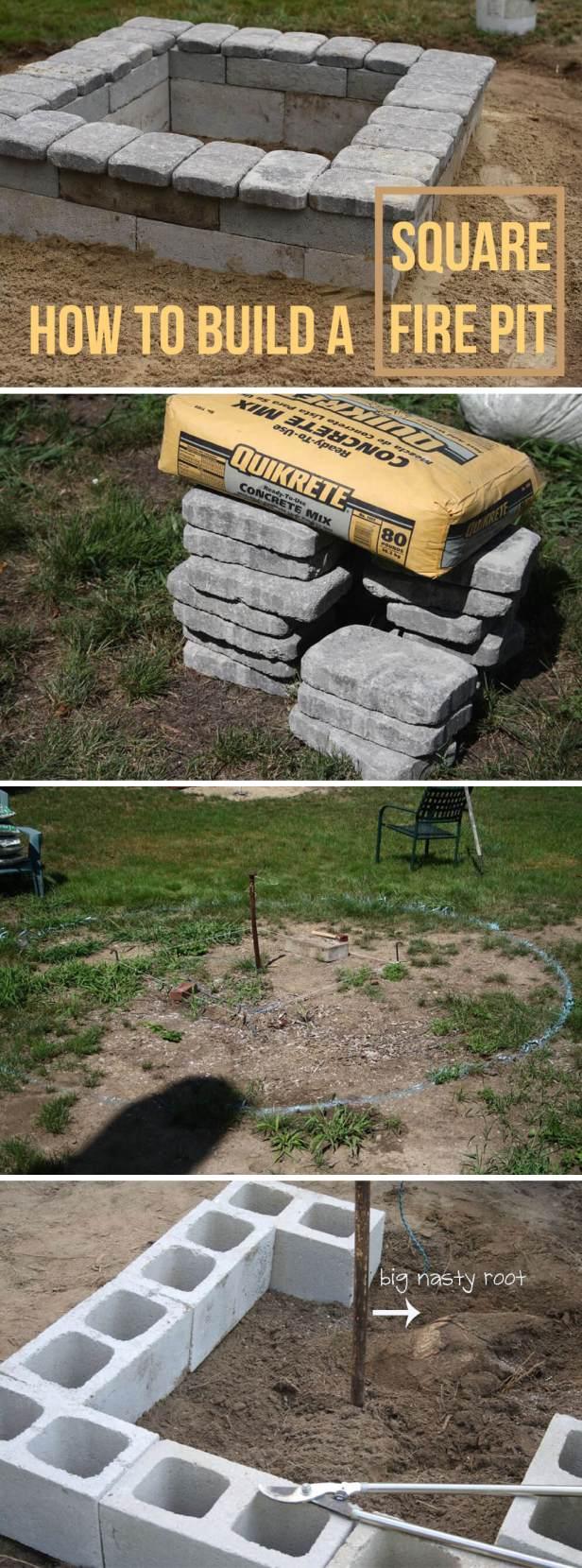 Square Concrete and Stone Firepit
