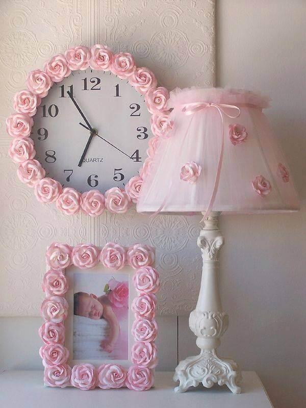 Diy Pink Rosette Shabby Chic Bedroom Accessories Homebnc
