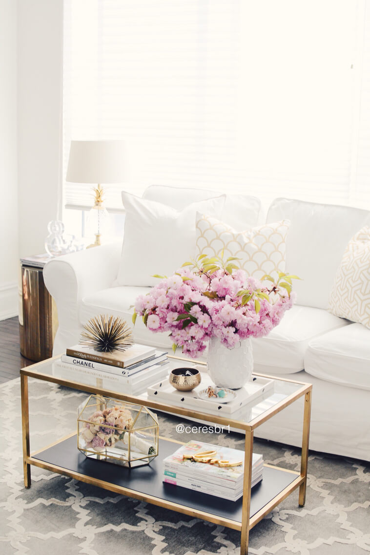 glass living room table best carpet 37 coffee decorating ideas and designs for 2019 retro glam gold floral display