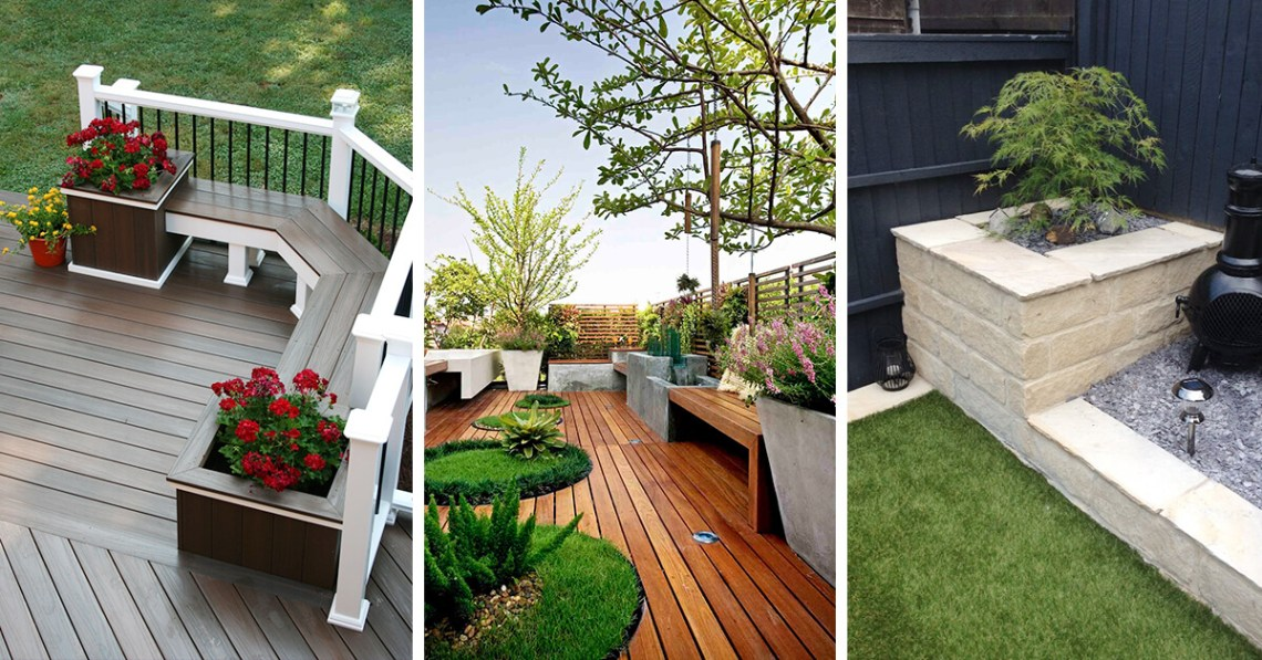 wooden decking for garden or backyard - front yard