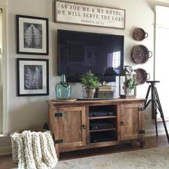 Decorating Ideas For Living Room Pictures Oil Paintings 35 Best Farmhouse Decor And Designs 2019 2 Rugged Barnwood Television Console Cabinet