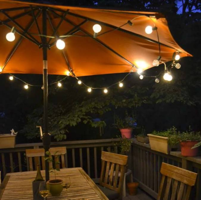 Simple Bulbs Make Umbrellas Useful for Night Lighting