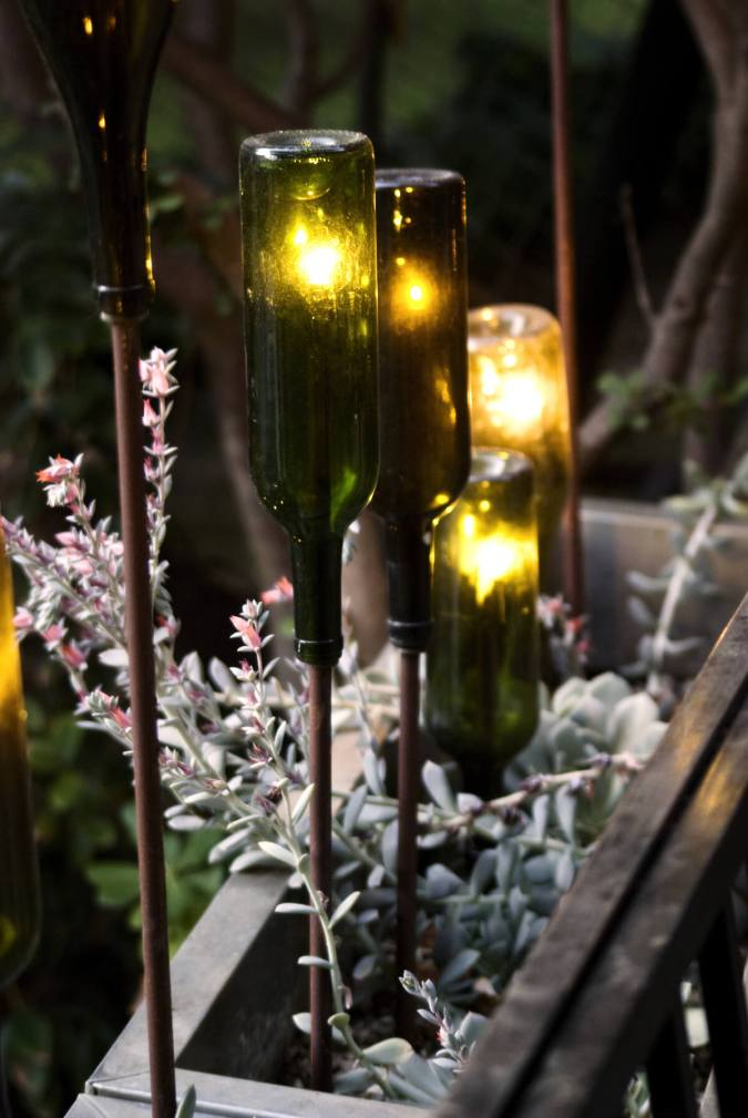 Green Glass Bottles Reborn as Gorgeous Torches