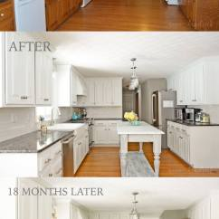 Kitchen Make Over Pull Out Wire Baskets Cupboards 25 Before And After Budget Friendly Makeover Ideas 4 Lightening The Cabinets Adding An Island