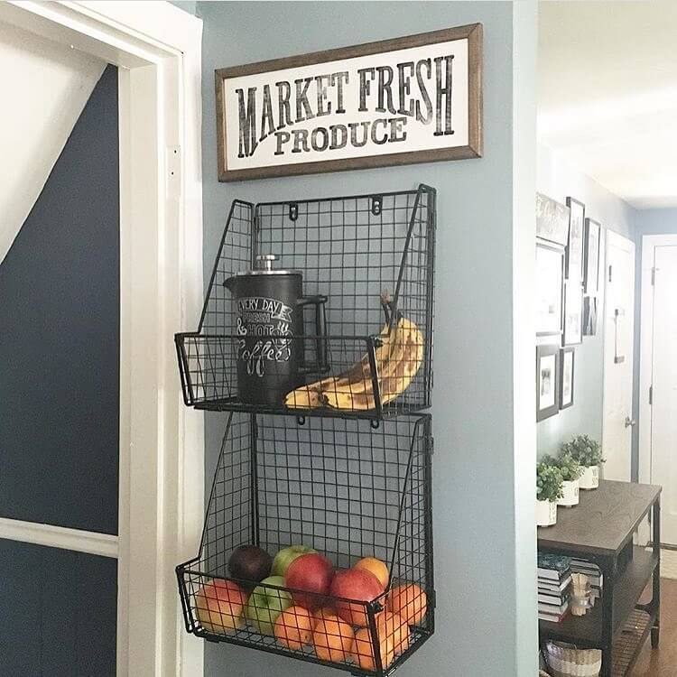 kitchen wall hangings units 36 best decor ideas and designs for 2019 hanging produce baskets with sign