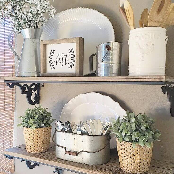 kitchen wall hangings metal island 36 best decor ideas and designs for 2019 rustic plant utensil display