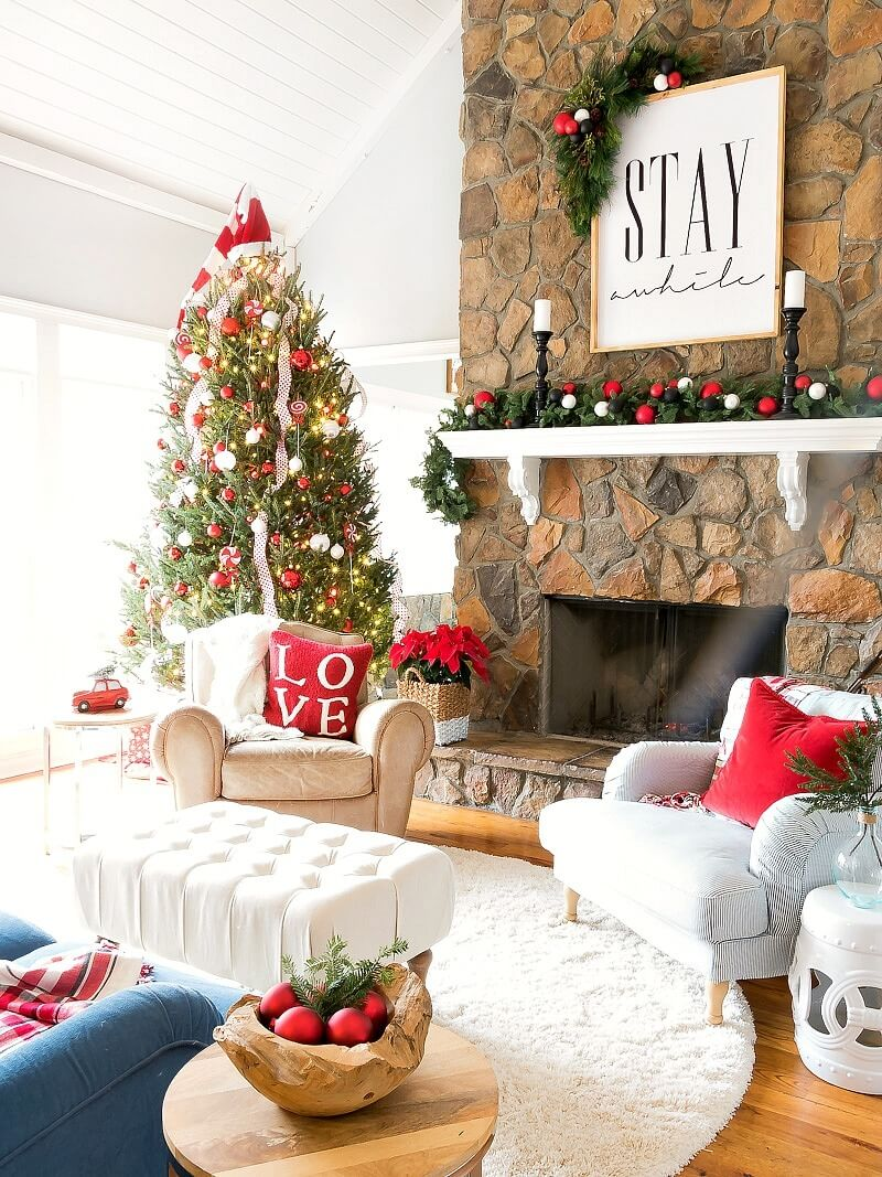 pictures of living room decorated for christmas furniture sets west elm 32 best decor ideas and designs 2019 10 red white balls on pine