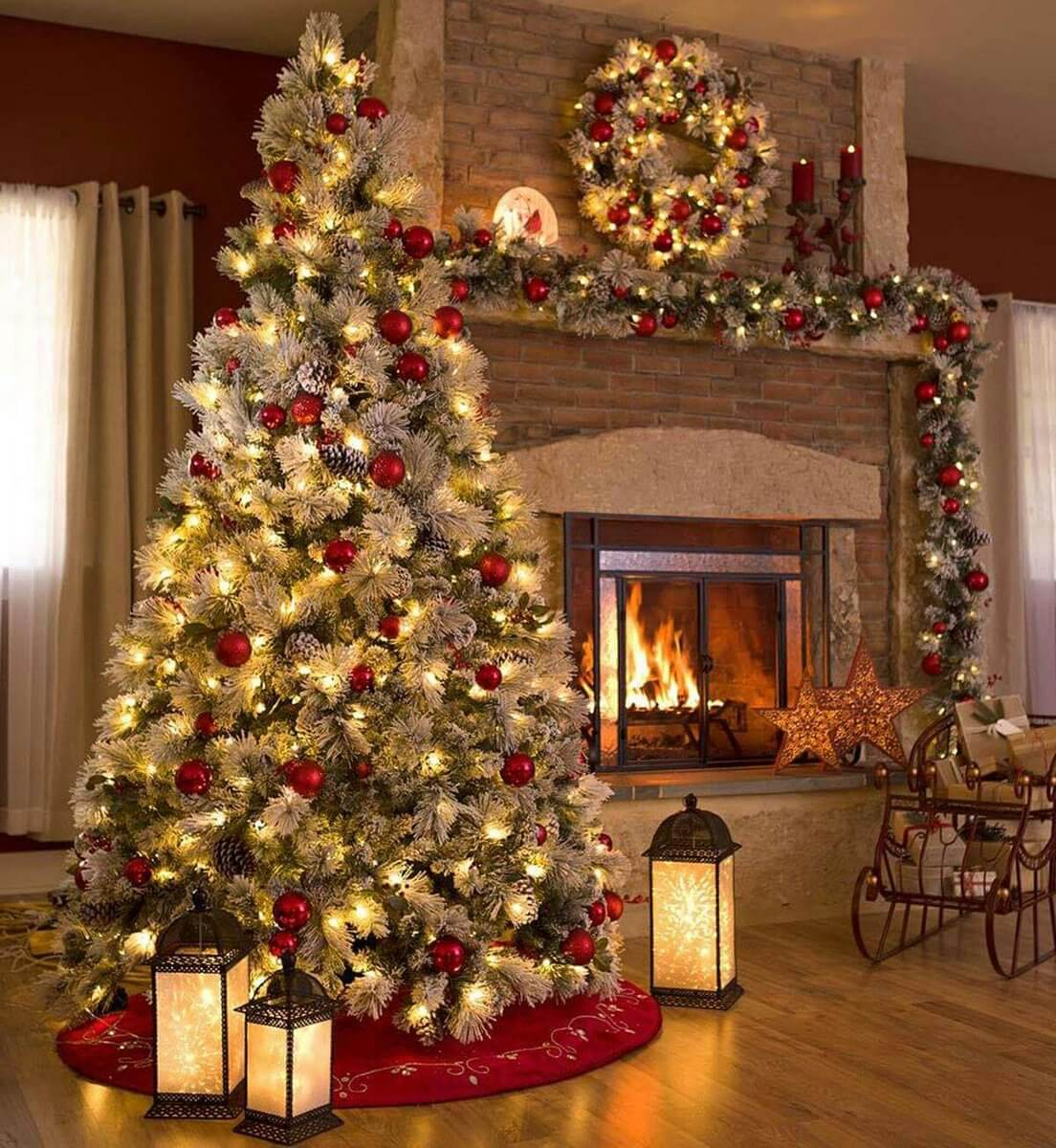 decorate small living room for christmas dried flowers 32 best decor ideas and designs 2019 red berry balls night lamps fireplace