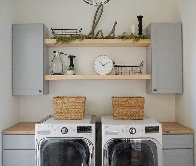 Laundry Room With Chicken Wire Light