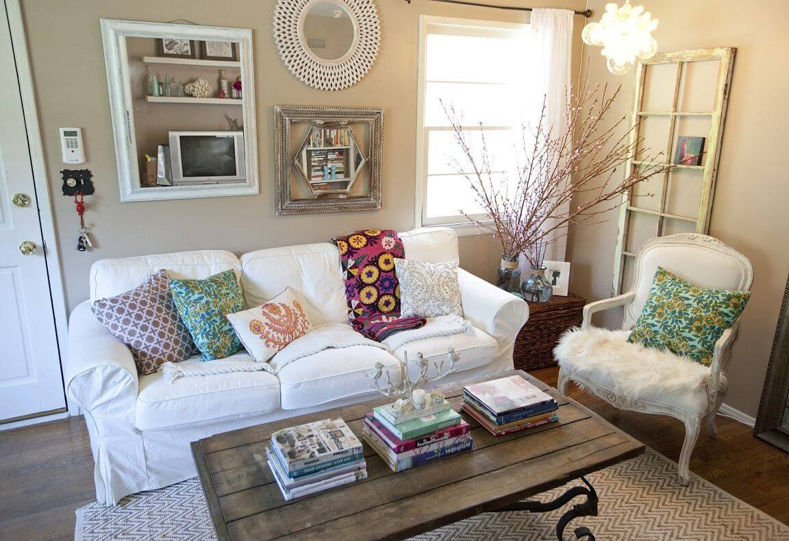 white sofa living room decor wall color ideas for with brown couch 25 best small and design 2019 colorful cushions