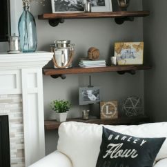 Shelf Ideas For Living Room Photos Of Rooms With Dark Wood Floors 26 Best Farmhouse Decor And Designs 2019 Stained Shelves On Metal Supports