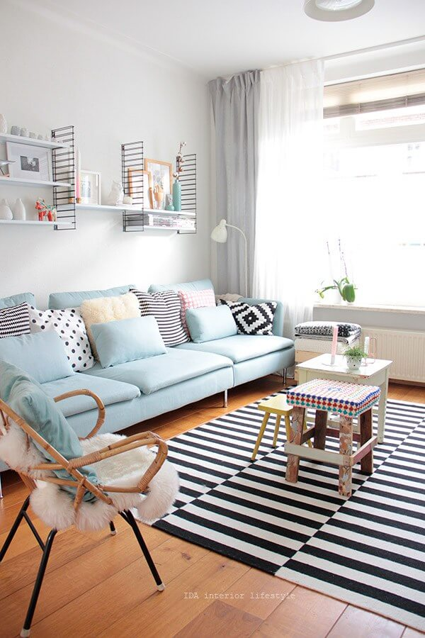 living room ideas 2018 elegant ceiling designs 25 best small decor and design for 2019 15 sky blue sofa with bold striped rug