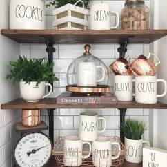 Kitchen Shelf Decor Build Cabinets 26 Best Farmhouse Ideas And Designs For 2019 Pretty Arrangement With Mugs Glass Greens