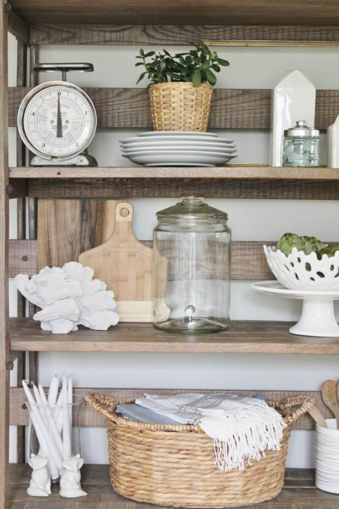 kitchen shelf decor lowes refacing cabinets 26 best farmhouse ideas and designs for 2019 wood crate style with glass accents