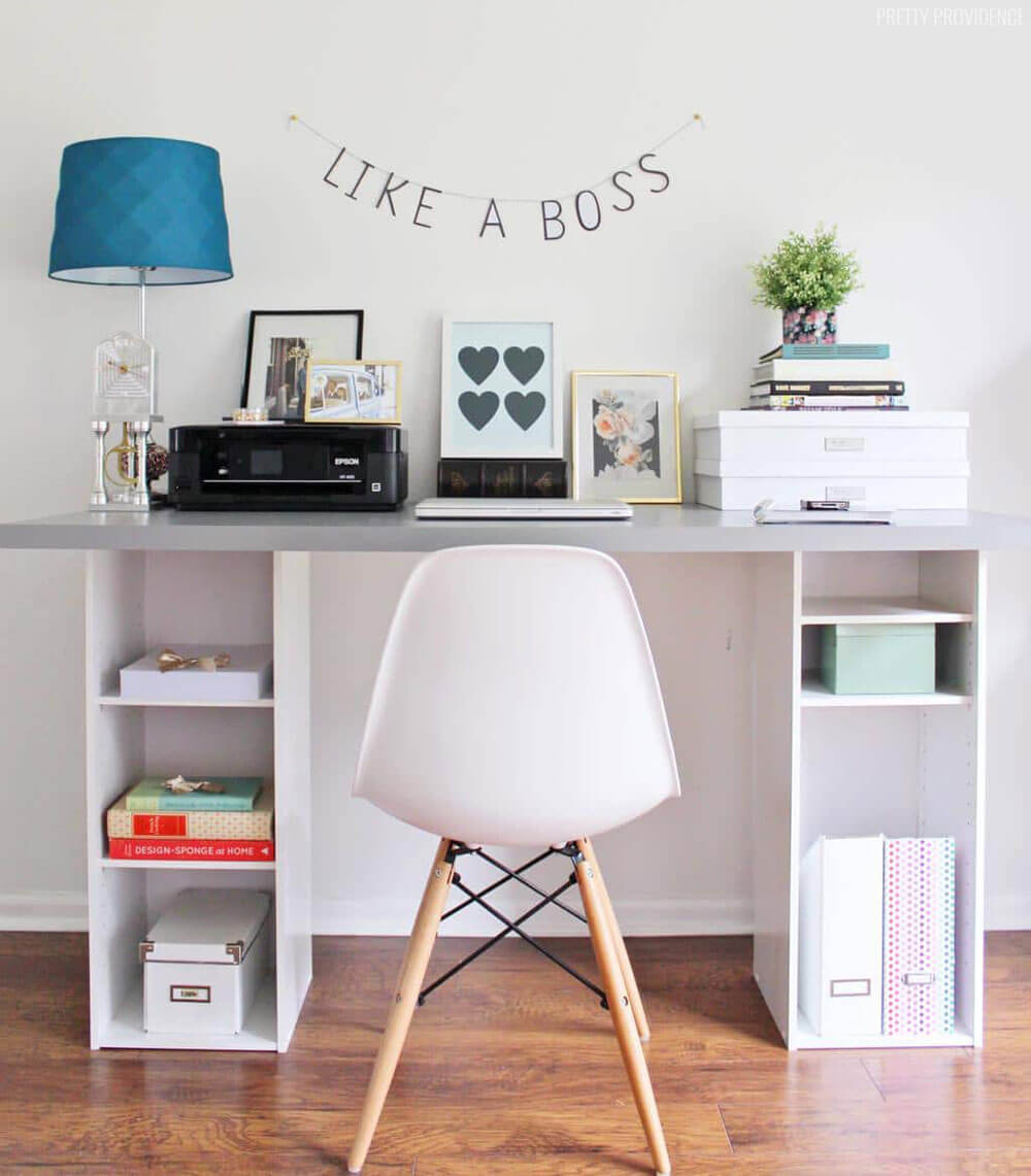 Easy Desk with Shelves Underneath