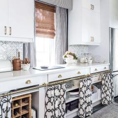 Curtains For The Kitchen Faucet Diverter 24 Best Cabinet Curtain Ideas And Designs 2019 Modern Black White Quatrefoil On Brass Rod