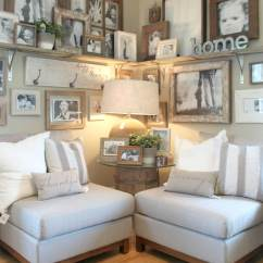 Decorating Ideas In Living Room For Lighting 33 Best Rustic Wall Decor And Designs 2019 12 Corner Shelf Full Of Family Photos