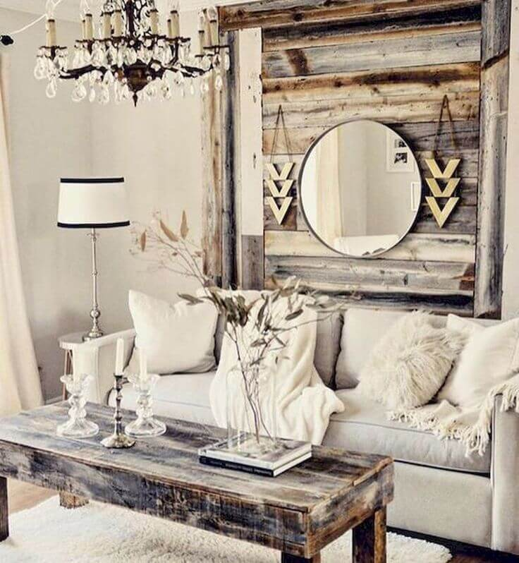 rustic living rooms room furniture sofas 33 best wall decor ideas and designs for 2019 32 pallet inspired wooden hanging with mirror