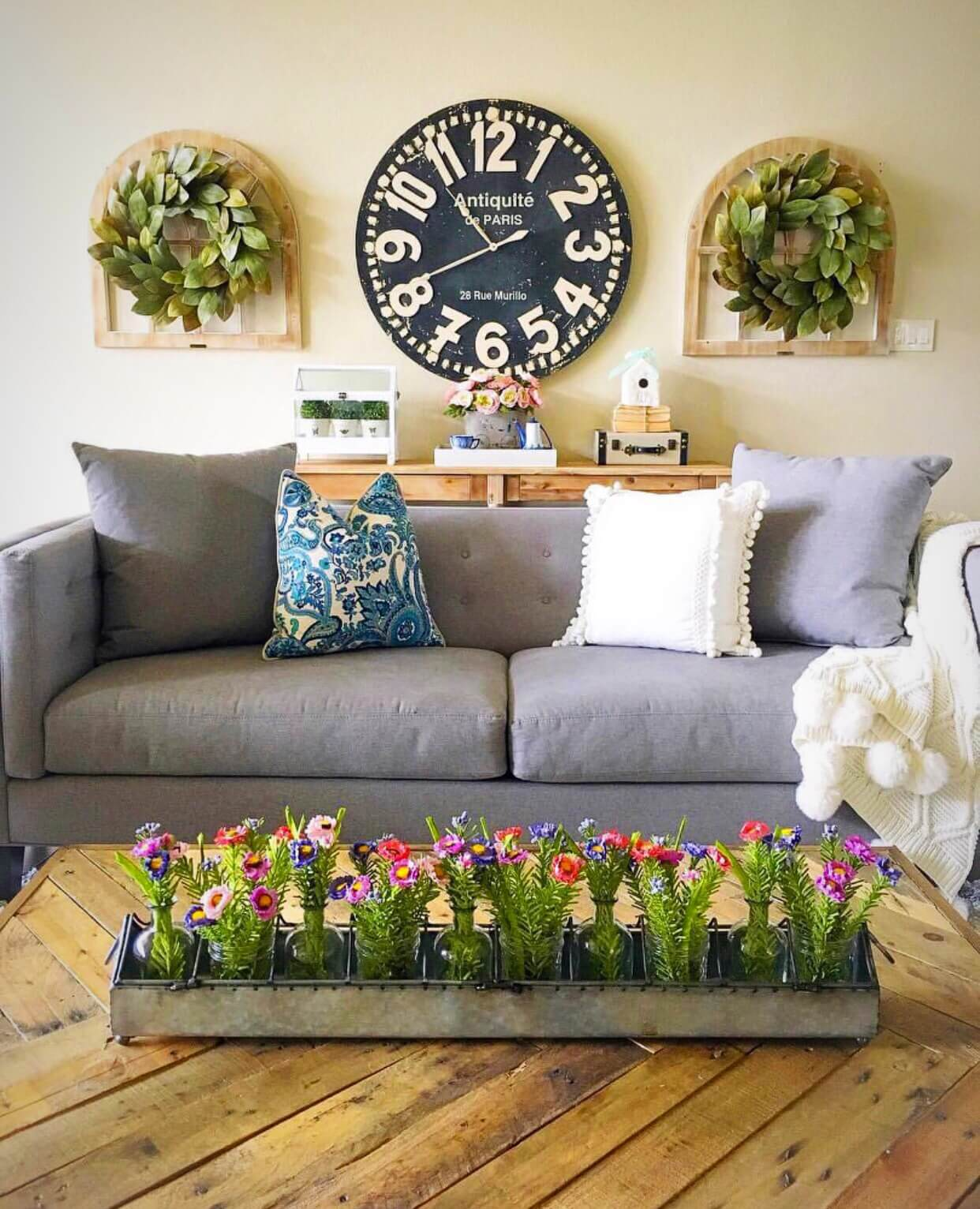 how to decorate large living room windows purple ideas pictures 33 best rustic wall decor and designs for 2019 clock with wreaths