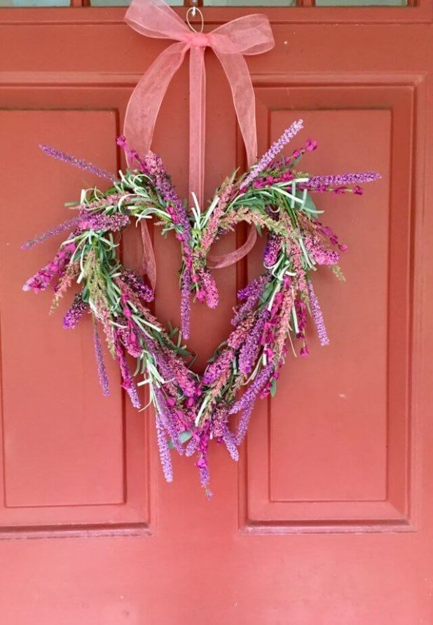 Feathery and Feminine Pink Fern Heart