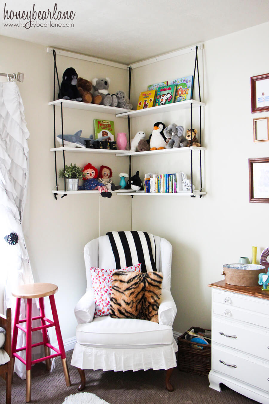 Sweet Hanging Swing-Style Shelves