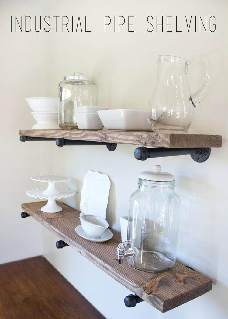 Boho Industrial Iron and Wood Floating Shelves