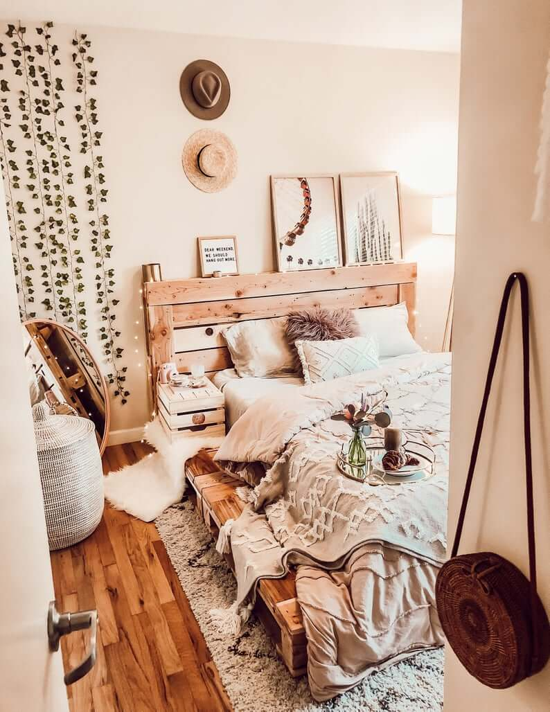 Boho Chic Pallet Bed and Headboard