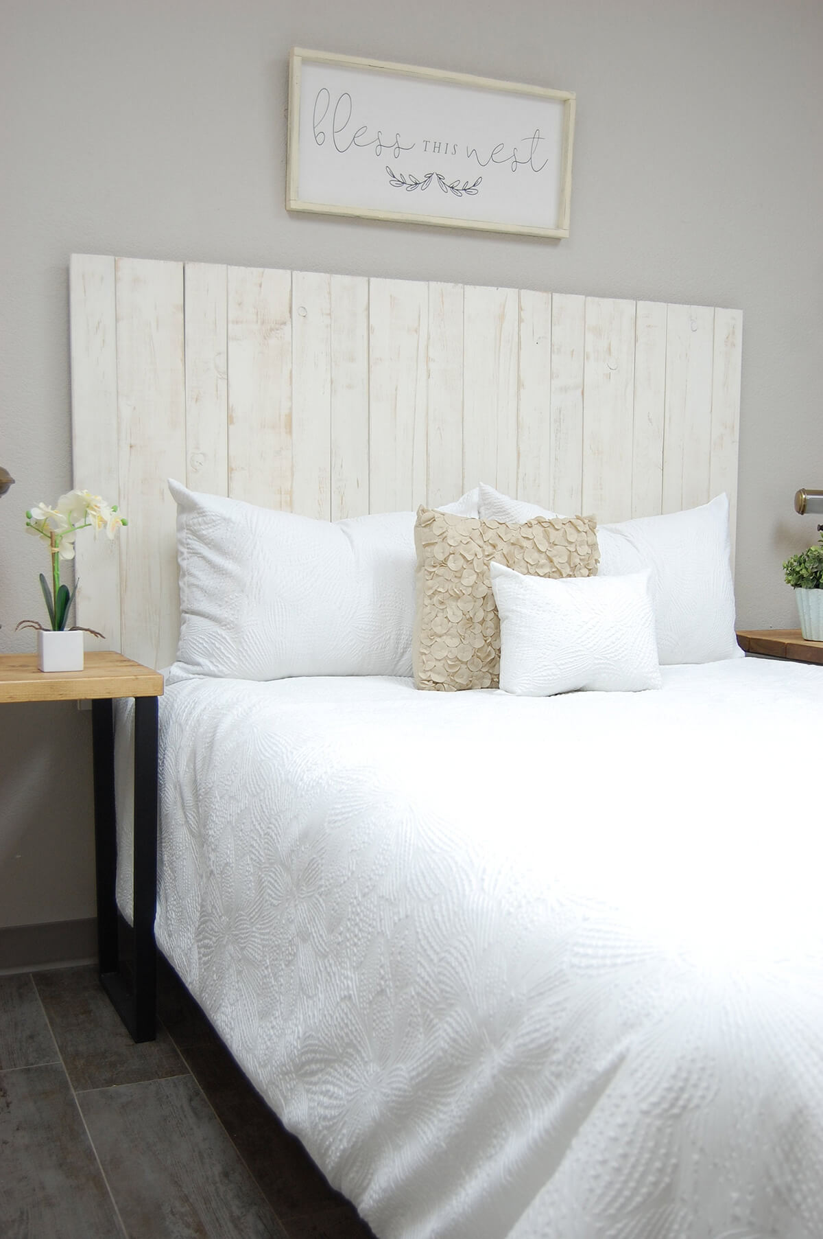 Timeless Whitewashed Pallet Wood Headboard