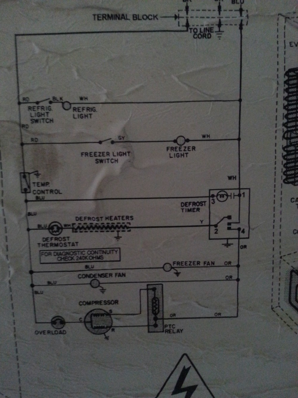 medium resolution of photo of the wiring schematic on the back of the unit