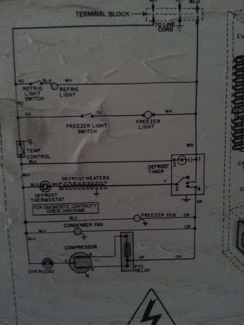 small resolution of photo of the wiring schematic on the back of the unit