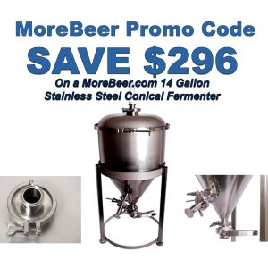 MoreBeer.com Promo Code Stainless Steel Conical Fermenter for Home Brewing Beer