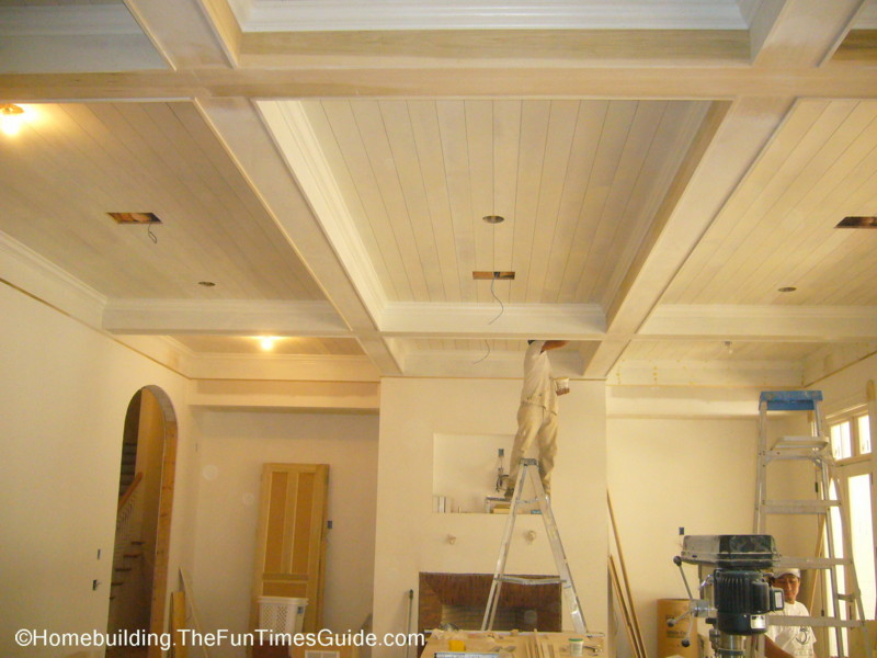 Great Room Wood Coffered Ceiling