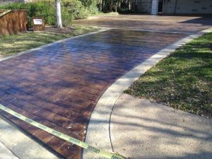 concrete staining with stamped pattern concrete
