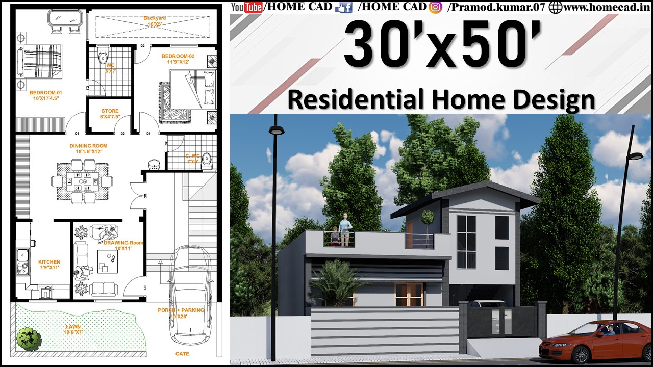 30x50 Residential Home Design With Project Files Home Cad