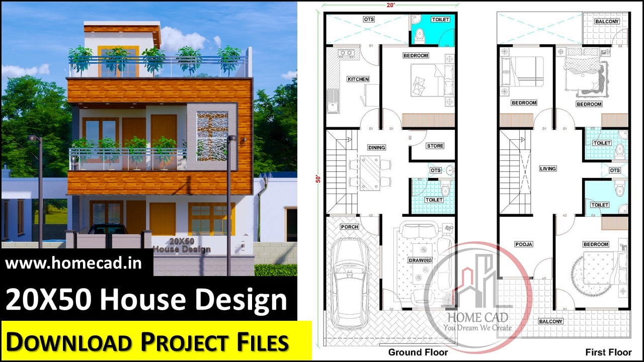 20x50 North Facing House Design With Floor Plan Home Cad