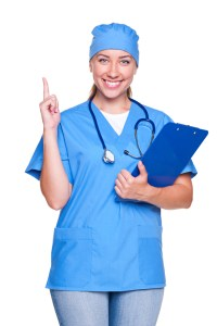 doctor woman with her finger up