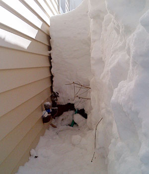 Four feet of snow shoveled from around fuel tank access