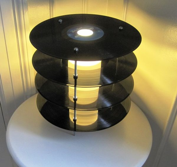 Vinyl Records Lamp by Genanvendt