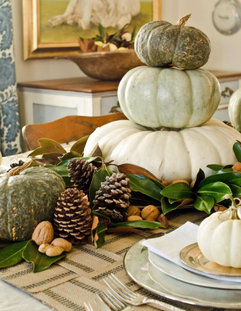 Table decor using few white pumpkins