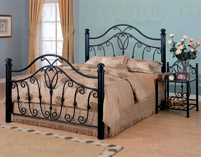Decorative Queen Size Iron Bed In Black Finish By Coaster