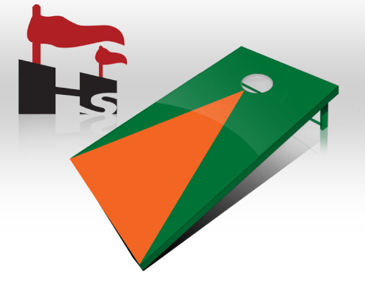 cornhole pyramid green orange