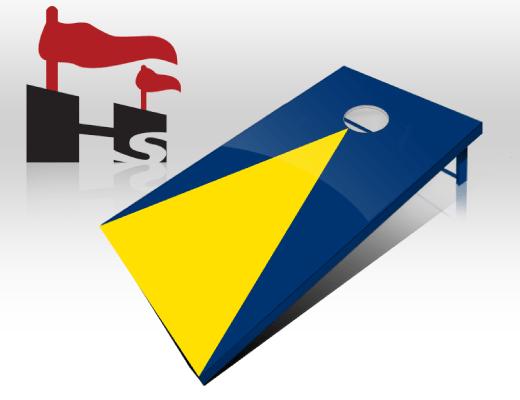 cornhole pyramid navy yellow