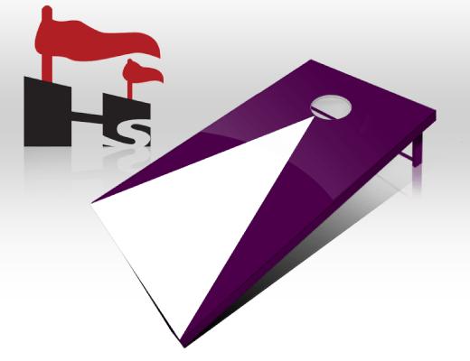 cornhole pyramid purple white